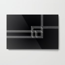 Squares and Lines No. 03 Black Metal Print