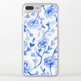Watercolor Peonies - China Blue Clear iPhone Case