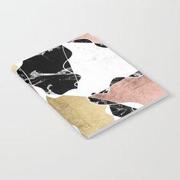 Modern white black marble rose gold foil color block handdrawn geometric lines Notebook