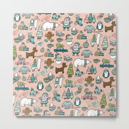 Pink Christmas Print, Christmas Illustration Pattern, Cute Holiday Decor, Holly Jolly Holidays Metal Print