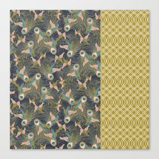 Peacock Feathers and Art Deco Print Canvas Print
