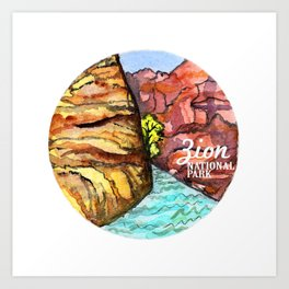 Zion National Park Watercolor Art Print