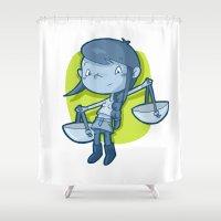 libra Shower Curtains featuring Libra by Chiara Zava