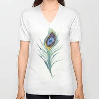 peacock feather V-neck T-shirts featuring Peacock Feather by Paxelart