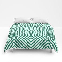 Emerald Elegant Diamond Chevron Comforters