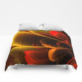 Stylized Half Flower Red Comforters