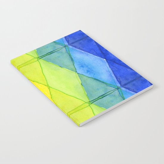 Geometrict Abstract Rainbow Watercolor Pattern Notebook