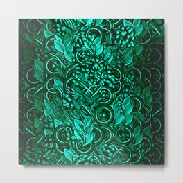 Leafy pattern in Turquoise Metal Print