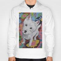 westie Hoodies featuring Pop Art Westie Named Poppy by Karren Garces Pet Art