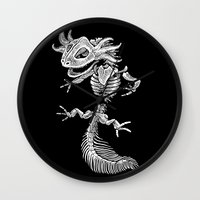 bouletcorp Wall Clocks featuring Axolotl Skeleton by Bouletcorp