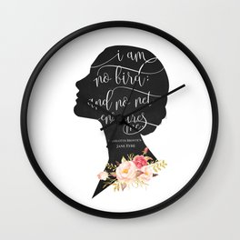 I am no Bird - Charlotte Bronte's Jane Eyre Wall Clock