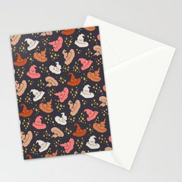 sparkling cute witch hats seamless vector pattern Stationery Cards
