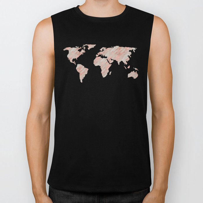 World Map Marble Rose Gold Biker Tank