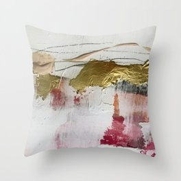 Untranslated Stars: a minimal, abstract piece in gold, pink, and white by Alyssa Hamilton Art Throw Pillow
