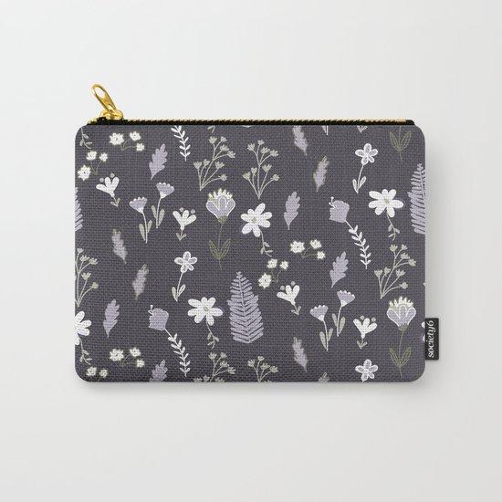 Dark Pastel Violet Flower Pattern Carry-All Pouch