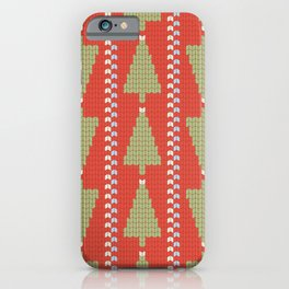 Retro Holidays Homespun Knit Christmas Sweater Pattern in Red Green Blue iPhone Case