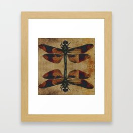 Dragonfly Mirrored on Leather Framed Art Print