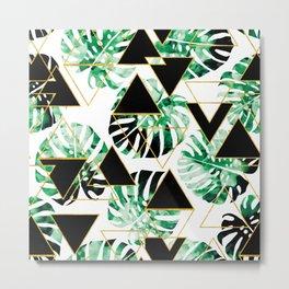 Monstera Leaf Triangle Metal Print