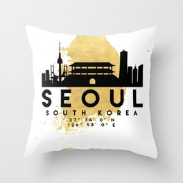 SEOUL SOUTH KOREA SILHOUETTE SKYLINE MAP ART Throw Pillow