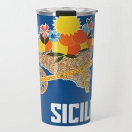 Sicilia - Sicily Italy Vintage Travel Travel Mug