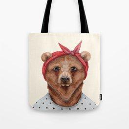 B is for a Brown Bear in a Bandana | Watercolor Animal | Art Print Tote Bag