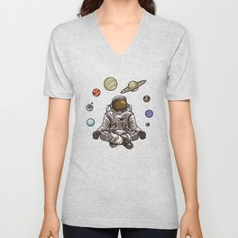 Yoga Astronaut Meditates In Space And feels The Galaxy Unisex V-Neck