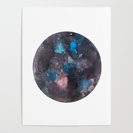 Galaxy round shape with stars Poster