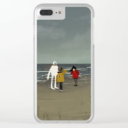 Windy day at the beach Clear iPhone Case