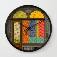 mandie manzano Wall Clocks featuring Shop windows by Megs stuff...