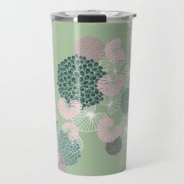 Floral Seamless Pattern on Green Travel Mug