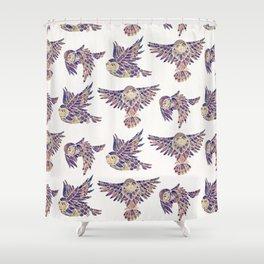 Owls in Flight – Mauve Palette Shower Curtain