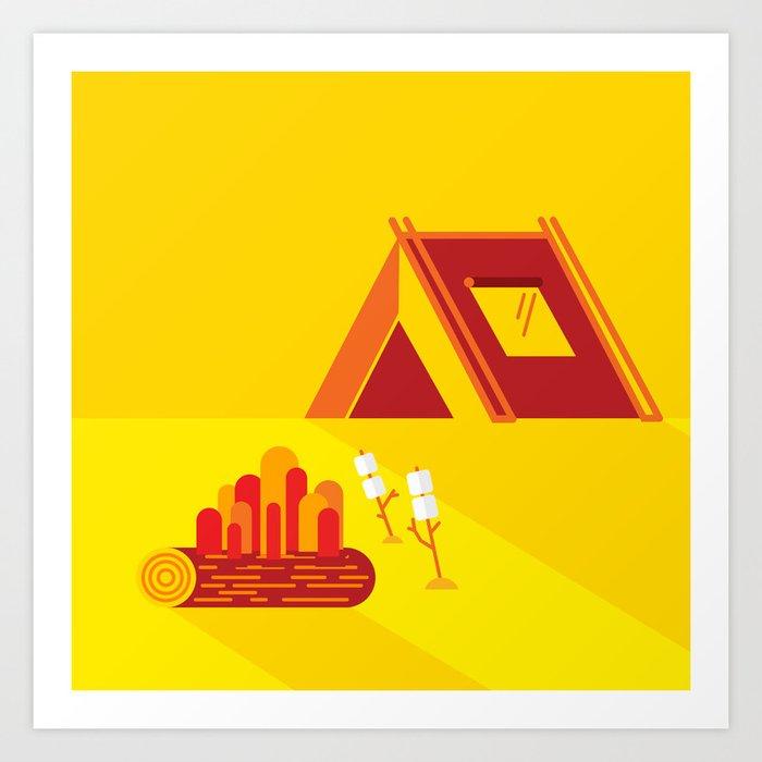 Camping in Yellow Art Print