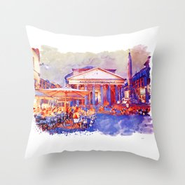 The Pantheon Rome Watercolor Streetscape Throw Pillow
