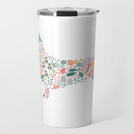 Dachshund Floral Watercolor Art Travel Mug