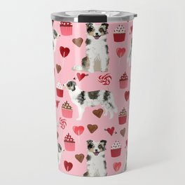 Border Collie valentines day cupcakes love hearts dog breed gifts collies herding dogs pet friendly Travel Mug