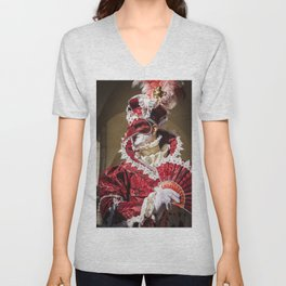 Red carnival mask in Venice Unisex V-Neck