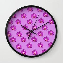 Purple Butterfly Orchids Patterns Golden Art Wall Clock
