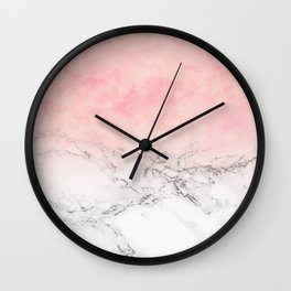 Modern blush pink watercolor ombre white marble Wall Clock