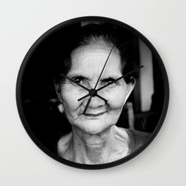 Balinese woman - Black and White - portrait - travel photography Wall Clock