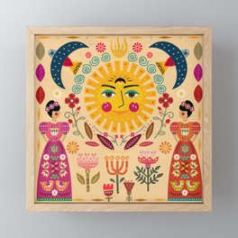Folk Art Inspired By The Fabulous Frida Framed Mini Art Print