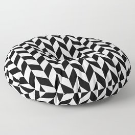 Black and White Herringbone Pattern Floor Pillow