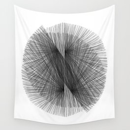 Black & White Mid Century Modern Radiating Lines Geometric Abstract Wall Tapestry