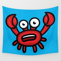 luigi Wall Tapestries featuring Crab Luigi by leondesigns