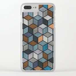 Colorful Hexagon Pattern - Blue, Grey, Brown Clear iPhone Case