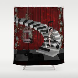 Dancing fairy on the piano Shower Curtain