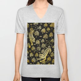 Tiger jungle animal pattern Unisex V-Neck