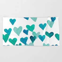 Valentine's Day Watercolor Hearts - turquoise Beach Towel