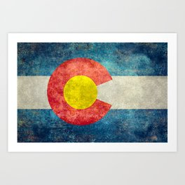 Colorado State Flag in Vintage Grunge Art Print