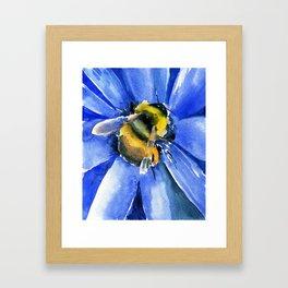 Bee and Blue Flower Framed Art Print