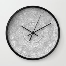 gray splash mandala swirl boho Wall Clock